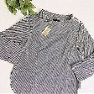 J. Crew Funnelneck Striped Shirt Size 10 NWT